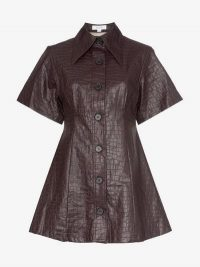 Beaufille Piper Crocodile-Embossed Faux Leather Shirt Dress in purple / animal print dresses
