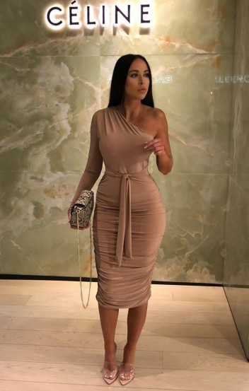 FEMME LUXE Savannah Beige One Shoulder Ruched Slinky Midi Dress ~ sultry evening look