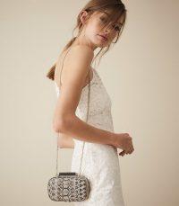 Reiss BELLSIZE LEATHER SNAKE PATTERN CLUTCH MONO SNAKE ~ glamorous evening bags