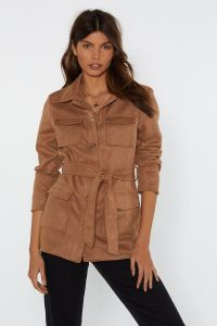 Nasty Gal Belt Your Heart Suede Jacket in Tan – brown belted jackets