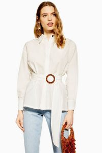 Topshop Belted Buckle Shirt in Ivory