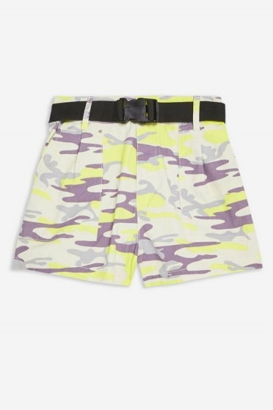 TOPSHOP Belted Camouflage Shorts in Yellow | camo prints