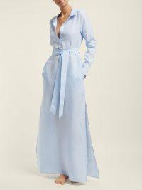POUR LES FEMMES Belted linen shirtdress | Matches Fashion