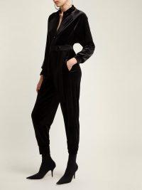 NORMA KAMALI Belted velvet jumpsuit | Matches Fashion