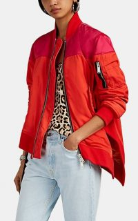 BEN TAVERNITI UNRAVEL PROJECT Asymmetric Colorblocked Bomber Jacket in Red and Fuchsia | colour block jackets