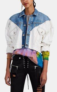 BEN TAVERNITI UNRAVEL PROJECT Oversized Hybrid Denim Crop Jacket in Blue and White | drop shoulder crop hem jackets