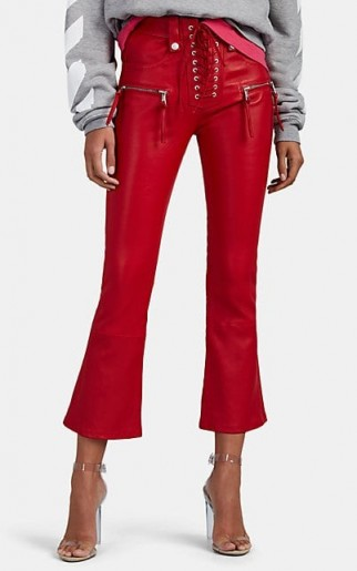 BEN TAVERNITI UNRAVEL PROJECT Plonge Leather Lace-Up Crop Flared Jeans in red ~ cropped hem pants