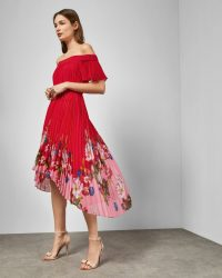 TED BAKER GILLYY Berry Sundae Bardot dress in red / floral occasion dresses