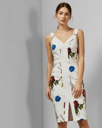 TED BAKER AMYLIA Berry Sundae bodycon dress in white / floral fitted dresses