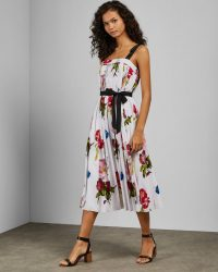 TED BAKER MELBII Berry Sundae tie strap dress in white / pleated floral print dresses