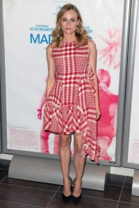 Diane Kruger attends the Maryland premiere in Paris, wearing a sleeveless red and white check Simone Rocha dress with asymmetric hemline, 24 September 2015. Celebrity fashion | star style | film premieres | events
