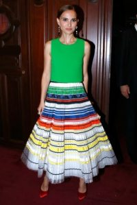 Natalie Portman looked gorgeous in this bright Dior Couture outfit while attending the Paris Opera Ballet Défilé Opening Gala, 24 September 2015. Celebrity fashion | star style | designer skirts | events