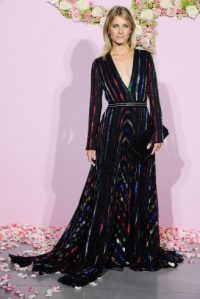 French actress Mélanie Laurent wore a shimmering Blumarine long sleeved gown with plunging neckline, to the Paris Opera Ballet Défilé Opening Gala, 24 September 2015. Celebrity fashion | star style | designer gowns | events