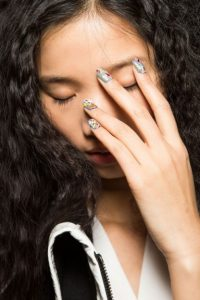 Desigual Fall 2015 runway nail art. Paint splatter nails – makeup ideas