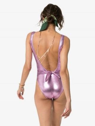 Beth Richards Tie Tank One-Piece Swimsuit in metallic-pink