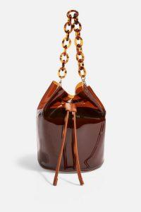 Topshop Billie TPU Bucket Bag in Brown