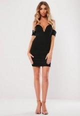 MISSGUIDED black bardot v bar bodycon mini dress ~ plunge front going out dresses