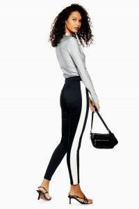 Topshop Black Biker Joni Jeans in black | side stripe skinnies | monochrome denim