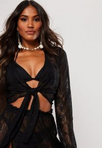 MISSGUIDED black lace long sleeve tie top