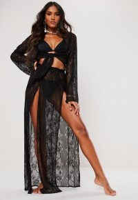 MISSGUIDED black lace maxi skirt ~ sheer front split skirts