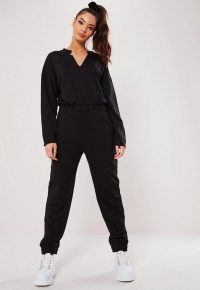 MISSGUIDED black notch front slouch jumpsuit ~ sporty fashion
