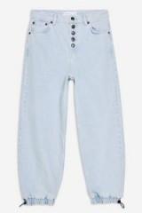 Topshop Bleach Drawstring Balloon Jeans | light-blue denim | cuffed hems