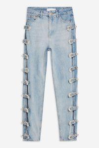 Topshop Bleach Side Buckle Mom Jeans in Bleach Stone | buckled denim