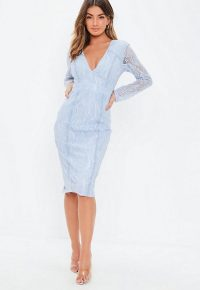 Missguided blue long sleeve ladder insert midi dress | plunging neckline party dresses