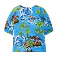 Stella Jean BLUSA MANICA CORTA TOP Hawaii/Azure | cuffed sleeve printed tops
