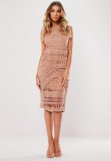 MISSGUIDED blush crochet layered midi dress ~ feminine occasion outfit