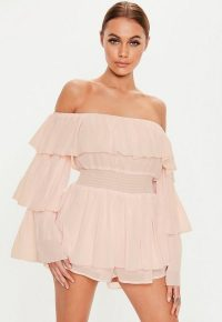 MISSGUIDED blush ruffle bardot playsuit ~ light-pink off the shoulder playsuits