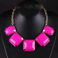 Bold Square Resin Stone Necklace – Tutu's Jewellery