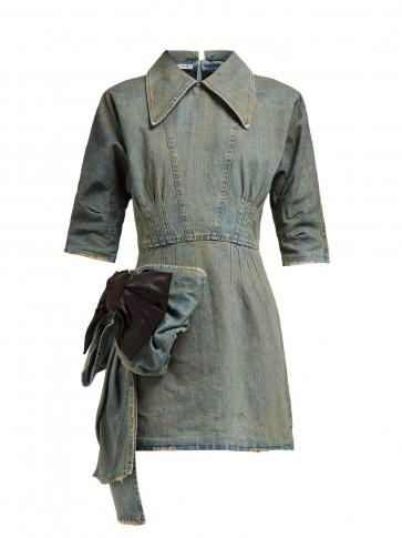 MIU MIU Bow-trim denim mini dress ~ vintage look clothing