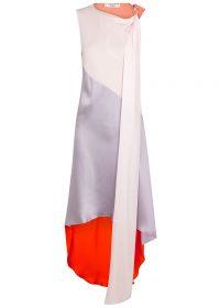 BRØGGER Fie colour-block silk dress ~ asymmetric paneled dresses
