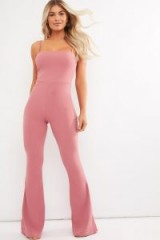 IN THE STYLE BRINIE RASPBERRY SQUARE NECK FLARED LEG JUMPSUIT ~ thin strap jumpsuits