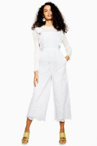 TOPSHOP Broderie Jumpsuit Ivory