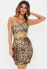 MISSGUIDED brown leopard print one shoulder mini dress ~ cut out design ~ neon green piping