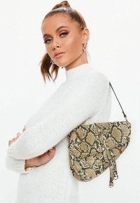 MISSGUIDED brown snake print saddle bag ~ small and stylish shoulder bags