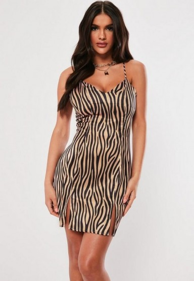MISSGUIDED brown zebra print satin split front mini dress