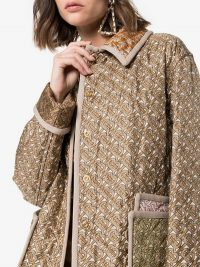 Burberry Monogram Print Quilted Silk Jacket in beige ~ logo printed fashion