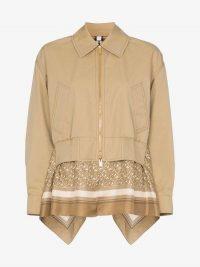 Burberry Scarf Detail Harrington Jacket in Beige   spring jackets