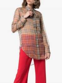Burberry Vintage Check Pussy-Bow Blouse in Beige / designer checks