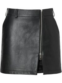 BURBERRY Zip-front Leather Mini Skirt in Black