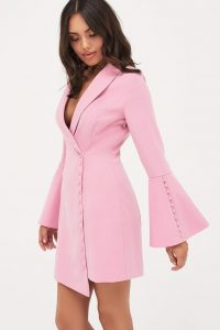 Lavish Alice button detail blazer mini dress in pink – flared sleeve jacket dresses