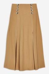Topshop Button Midi Skirt in Tan | 70s style fashion