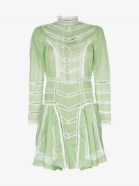 By Timo Organza High-Neck Lace Detail Long-Sleeved Cotton Dress Light-Green