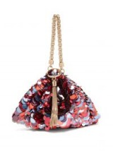 JIMMY CHOO Callie sequinned satin clutch bag in red, purple and blue sequins