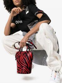 Calvin Klein 205W39nyc Red Dalton Mini Tiger Print Leather Bucket Bag / small animal bags