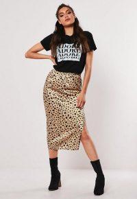 MISSGUIDED camel satin dalmatian spot print midi slip skirt