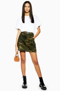 TOPSHOP Camouflage Belt Skirt in Khaki / camo mini